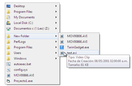 Menú explorer con Windows 7