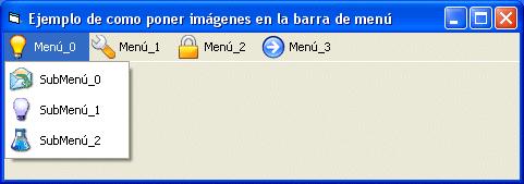 Barra de menú con imágenes XP