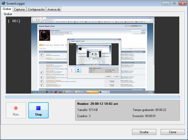 ScreenLogger, VideoRecorder, Grabar Pantalla